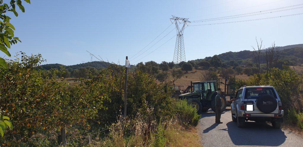 trattore che impedisce il traffico per la via dell'Abbazia e le Terme abbandonate di San Michele alle Formiche